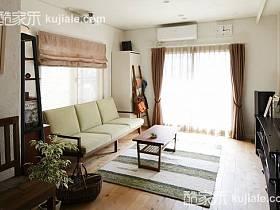 清新自然溫馨浪漫客廳窗簾沙發茶幾布藝窗簾效果圖
