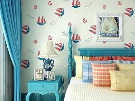 地中海混搭地中海风格卧室壁纸图片