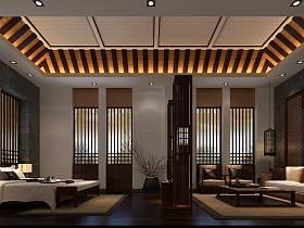 新中式客厅卧室装修图