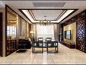 中式新中式客厅吊顶效果图