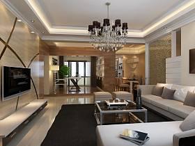 现代简约新古典客厅吊顶图片