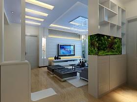 现代简约客厅玄关隔断玄关柜装修效果展示