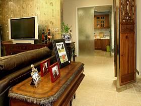 中式复古客厅玄关隔断隐形门玄关柜设计方案