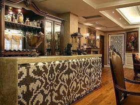欧式洛可可餐厅吧台效果图