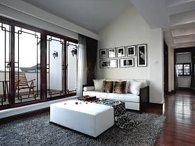 现代简约新中式客厅设计图