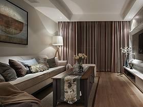 客廳窗簾背景墻沙發客廳沙發掛畫設計案例