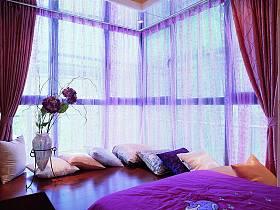现代简约卧室飘窗&落地窗装修图