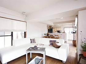 自然沙发木质地板效果图