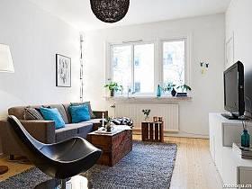 北欧客厅卧室阳台单身公寓设计方案