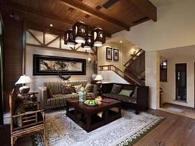中式现代客厅背景墙椅藤椅设计案例展示