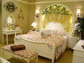 田园美式美式风格卧室白色家具设计方案