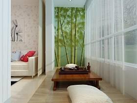 日式日式風格陽臺茶幾壁紙設計圖