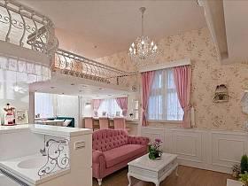 時尚浪漫客廳壁紙水晶吊燈圖片
